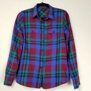J. Crew Garnet Flame Plaid Shirt sz4